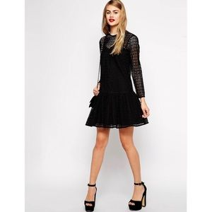 ASOS- Shift Dress in Broderie With Dropped Waist